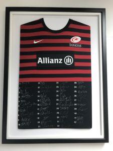 Saracens rugby shirt framed