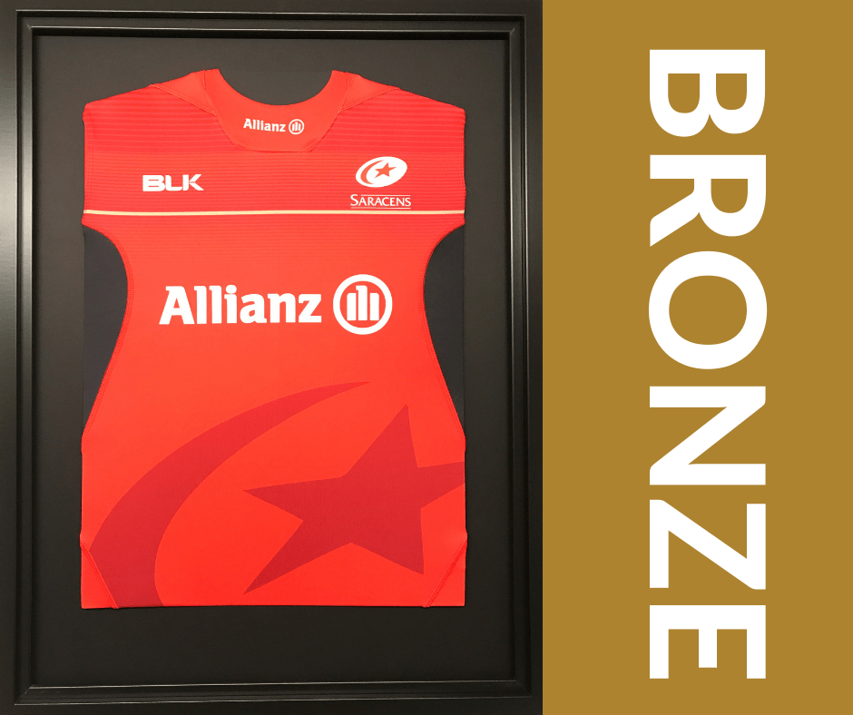 The Bronze Shirt Framing Service a simple no frills framing service but still includes our high quality frame and mounts. Send us your shirt and we return it to you framed. There is no more to it than that.