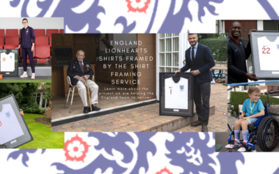 England Lionhearts Shirts Framed by The Shirt Framing Service