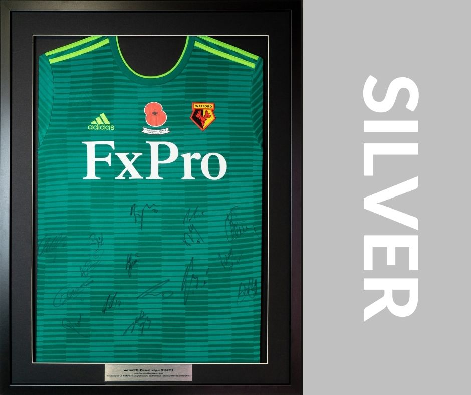 Our Silver Service is our mid-range shirt framing service. Still affordable but with the addition of a border and a plaque as standard.