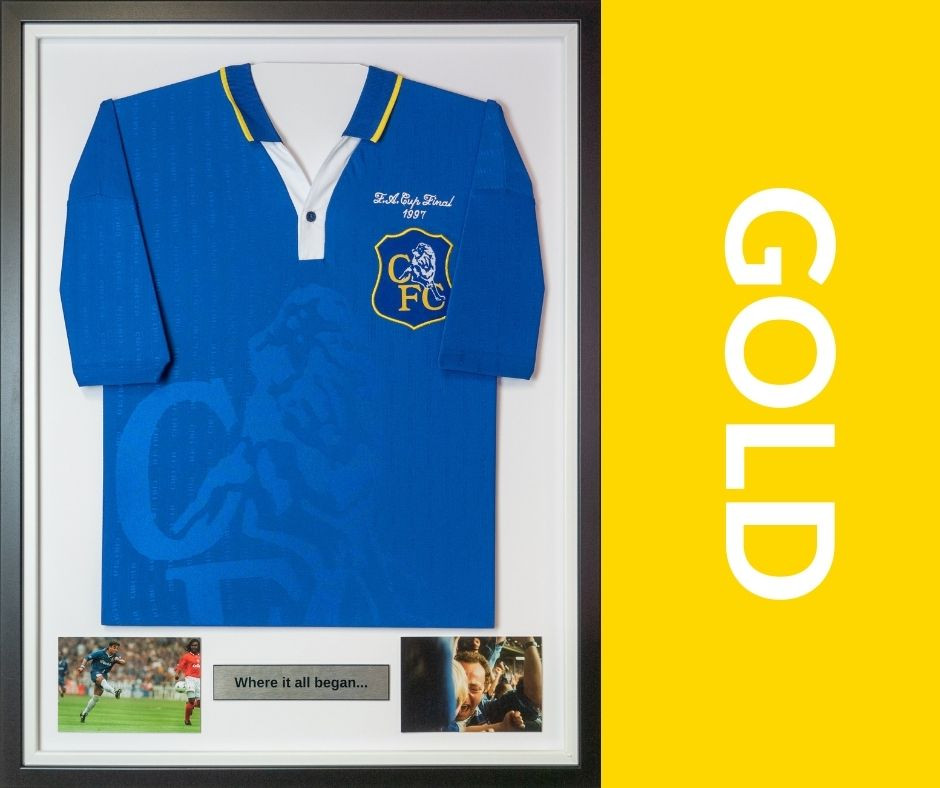 Arguably Gold is our top selling shirt framing service, The gold shirt framing package still includes 2 photos within the frame and a plaque but also includes the option of having an image printed on the plaque (such as club logo or player silhouette). And the inclusion of two photographs below the framed shirt. You may also choose the orientation of the shirt sleeves